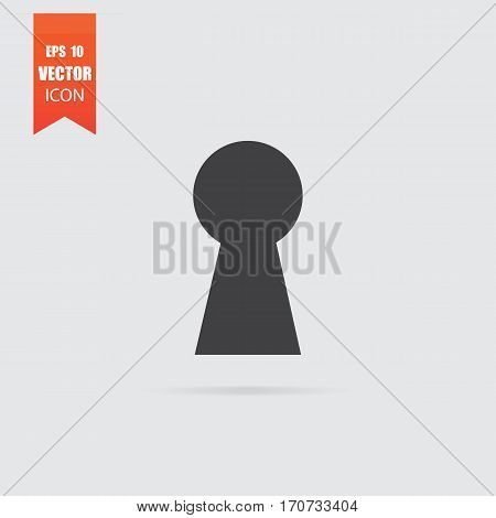 Keyhole Icon In Flat Style Isolated On Grey Background.