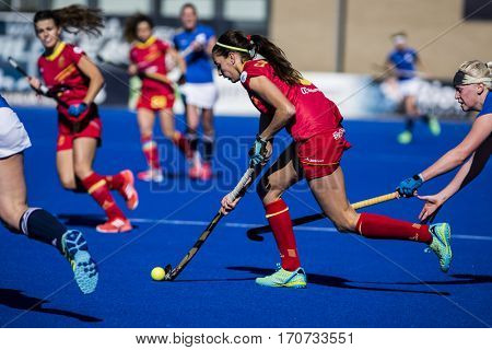 VALENCIA, SPAIN - FEBRUARY 5: Carola Salvatella during Hockey World League Round 2 match between Spain and Czech Republic at Betero Stadium on February 5, 2017 in Valencia, Spain