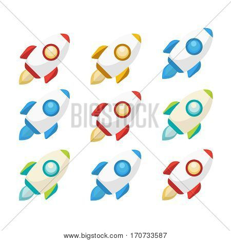 Rocket collection icon. Rockets set vector illustration. Rocket sign