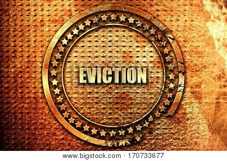 eviction, 3D rendering, text on metal