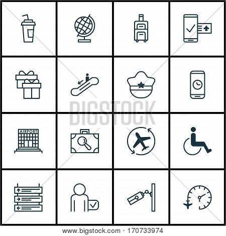 Set Of 16 Transportation Icons. Includes Escalator Down, Accessibility, Plane Schedule And Other Symbols. Beautiful Design Elements.