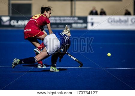 VALENCIA, SPAIN - FEBRUARY 5: (R) Lacina, (L) Grau during Hockey World League Round 2 match between Spain and Czech Republic at Betero Stadium on February 5, 2017 in Valencia, Spain