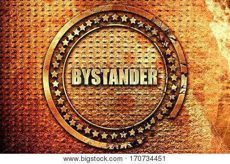 bystander, 3D rendering, text on metal