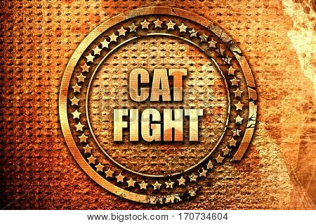 cat fight, 3D rendering, text on metal
