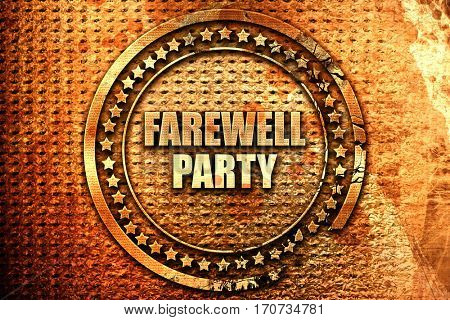 farewell party, 3D rendering, text on metal