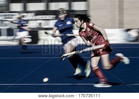 VALENCIA, SPAIN - FEBRUARY 5: (R) Marta Grau during Hockey World League Round 2 match between Spain and Czech Republic at Betero Stadium on February 5, 2017 in Valencia, Spain