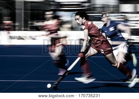 VALENCIA, SPAIN - FEBRUARY 5: Marta Grau during Hockey World League Round 2 match between Spain and Czech Republic at Betero Stadium on February 5, 2017 in Valencia, Spain