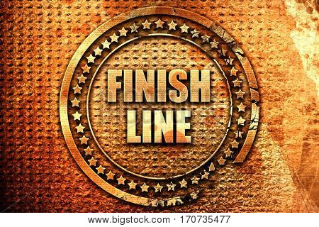 finish line, 3D rendering, text on metal