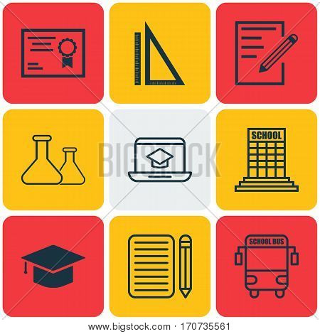 Set Of 9 School Icons. Includes Distance Learning, Paper, Transport Vehicle And Other Symbols. Beautiful Design Elements.