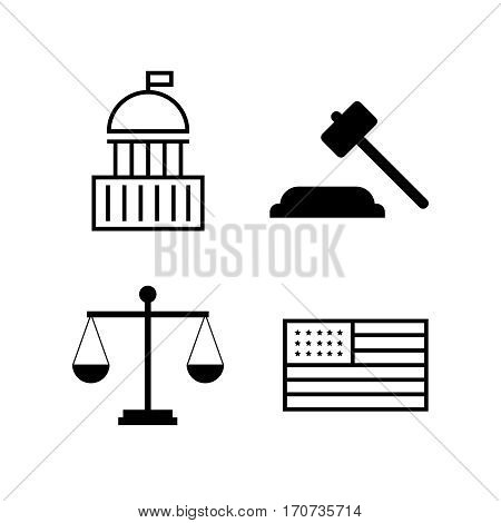 Voting and elections linear icons. Government political icons. Political vector