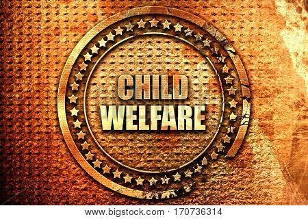 child welfare, 3D rendering, text on metal