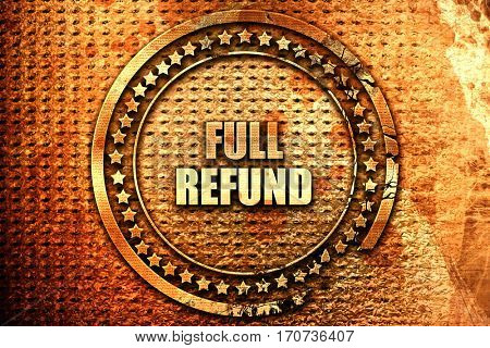 full refund, 3D rendering, text on metal