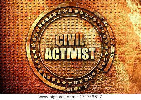 civil activist, 3D rendering, text on metal