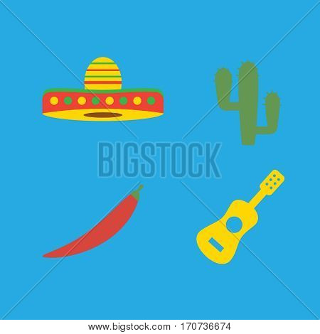 Mexico icons set mexican symbols. Cactus and chili pepper vector. Mexico vector