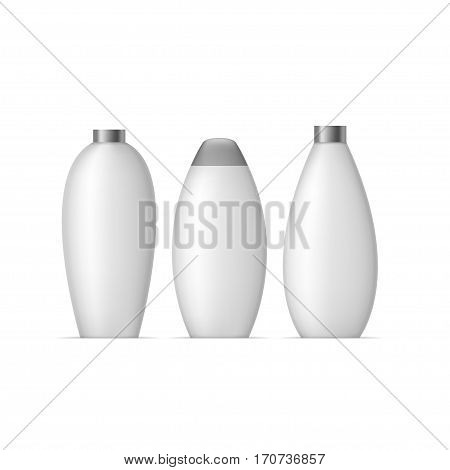 White bottle set. Package collection for cream, soups, foams, shampoo and other cosmetics