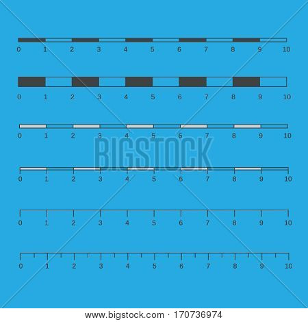 Vector map scales graphics for measuring distances. Map scales vector