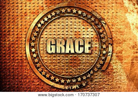 grace, 3D rendering, text on metal