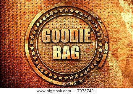 goodie bag, 3D rendering, text on metal