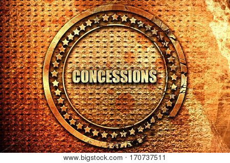 concessions, 3D rendering, text on metal