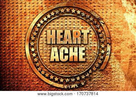 heartache, 3D rendering, text on metal
