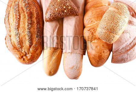 Different sorts of bread over white background