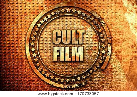 cult film, 3D rendering, text on metal