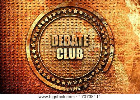debate club, 3D rendering, text on metal