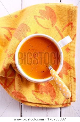 Carrot and orange soup with nutmeg overhead shot