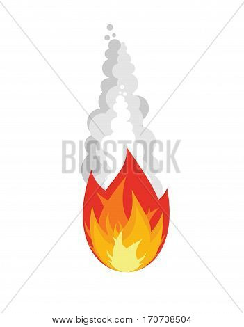 Meteorite Isolated. Fireball On White Background. Fire Asteroid With Smoke