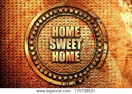home sweet home, 3D rendering, text on metal