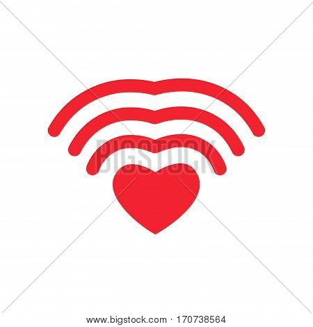 Wi-fi Love. Wifi Heart. Wireless Communication For Lovers. Romantic Button