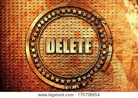 delete, 3D rendering, text on metal