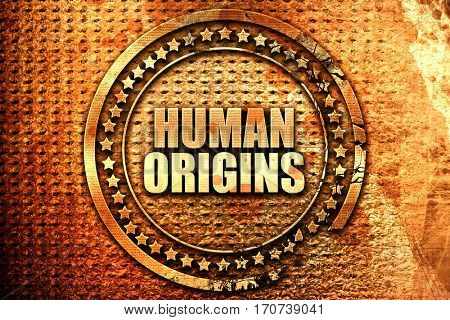human origins, 3D rendering, text on metal