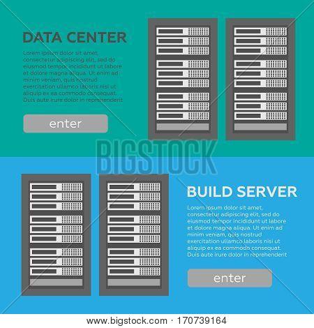 Data center and hosting banners set. Network internet database vector. Data center vector