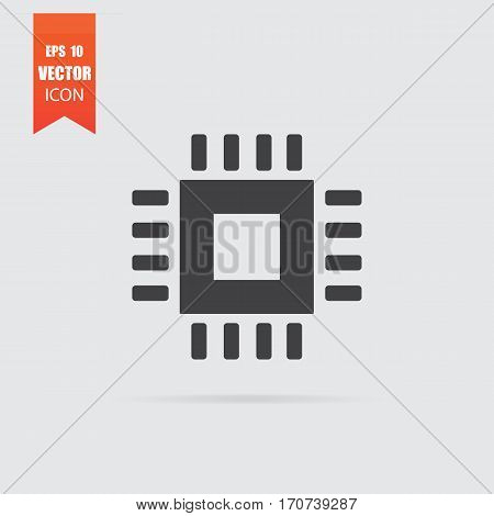 Computer Chip Icon In Flat Style Isolated On Grey Background.