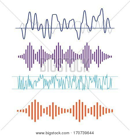 Vector Sound Waveforms. Sound waves and musical icons. Sound waves vector