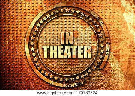 in theater, 3D rendering, text on metal