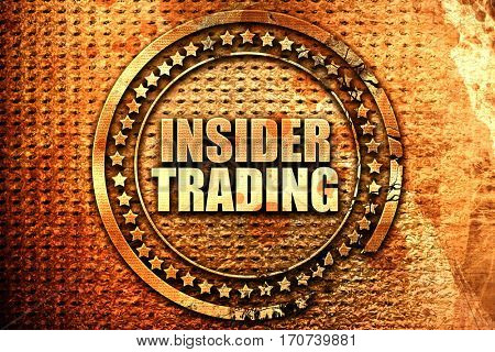insider trading, 3D rendering, text on metal