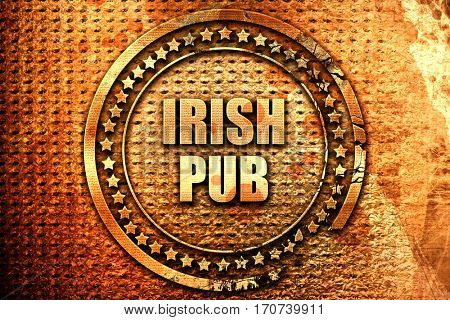 irish pub, 3D rendering, text on metal