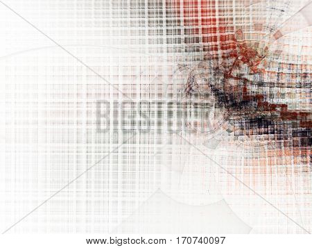 Abstract background element. Chaotic distortion of regular grid pattern. Technology glitch concept. Black and red colors on white.