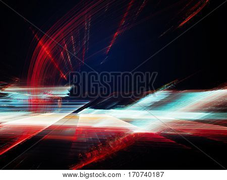 Abstract background element. Fractal graphics. Three-dimensional composition of glowing artifacts. Glitch aesthetics. Cyan and red on black colors.