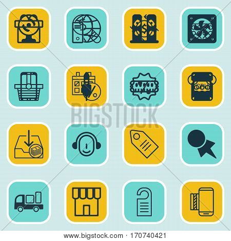 Set Of 16 Ecommerce Icons. Includes Callcentre, Calculator, Withdraw Money And Other Symbols. Beautiful Design Elements.