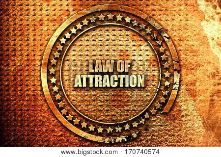 law of attraction, 3D rendering, text on metal
