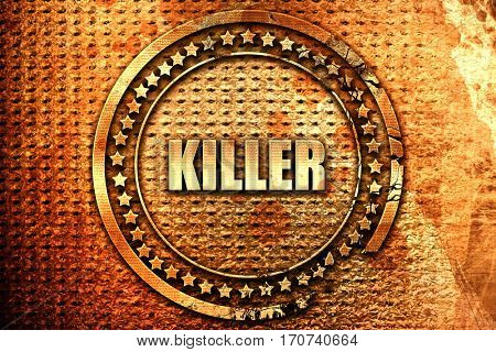 killer, 3D rendering, text on metal