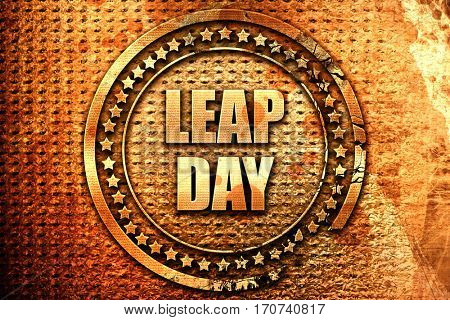 leap day, 3D rendering, text on metal