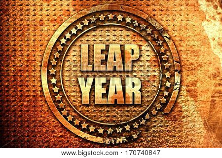 leap year, 3D rendering, text on metal