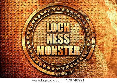 loch ness monster, 3D rendering, text on metal