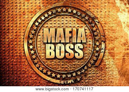 mafia boss, 3D rendering, text on metal