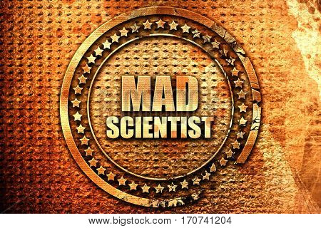 mad scientist, 3D rendering, text on metal