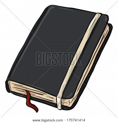 Vector Single Cartoon Black Diary On White Background
